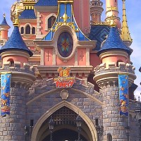 Mickey&#039;s Not So Scary Halloween Party banners on the Castle at Disneyland Paris
