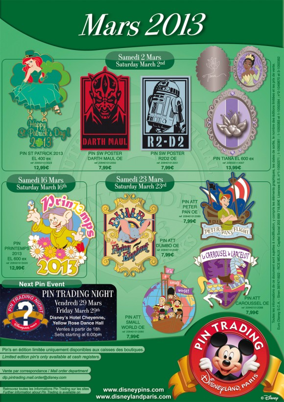 Disneyland Paris Pins for March 2013