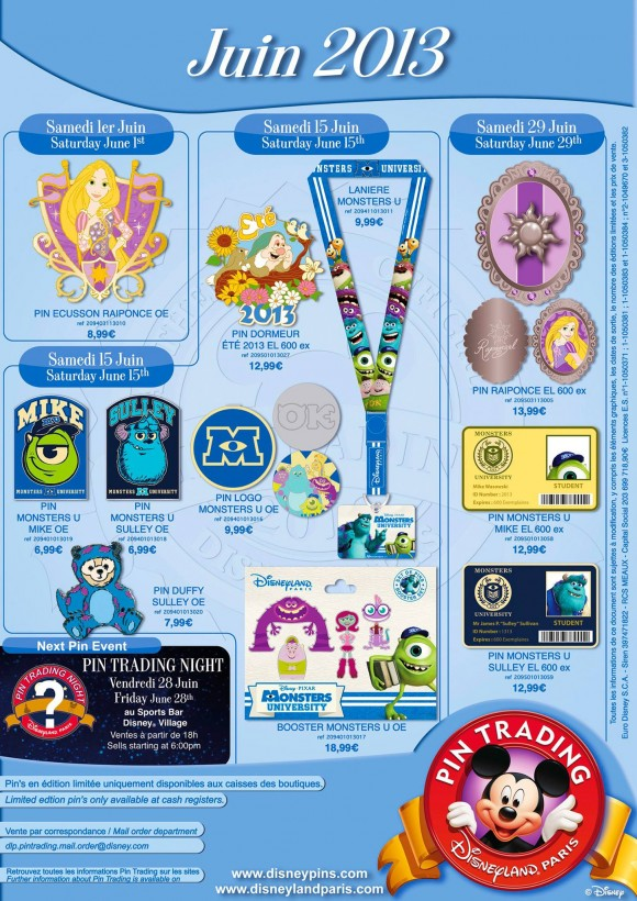 Disneyland Paris Pins for June 2013 – Monsters University, Princesses & Duffy