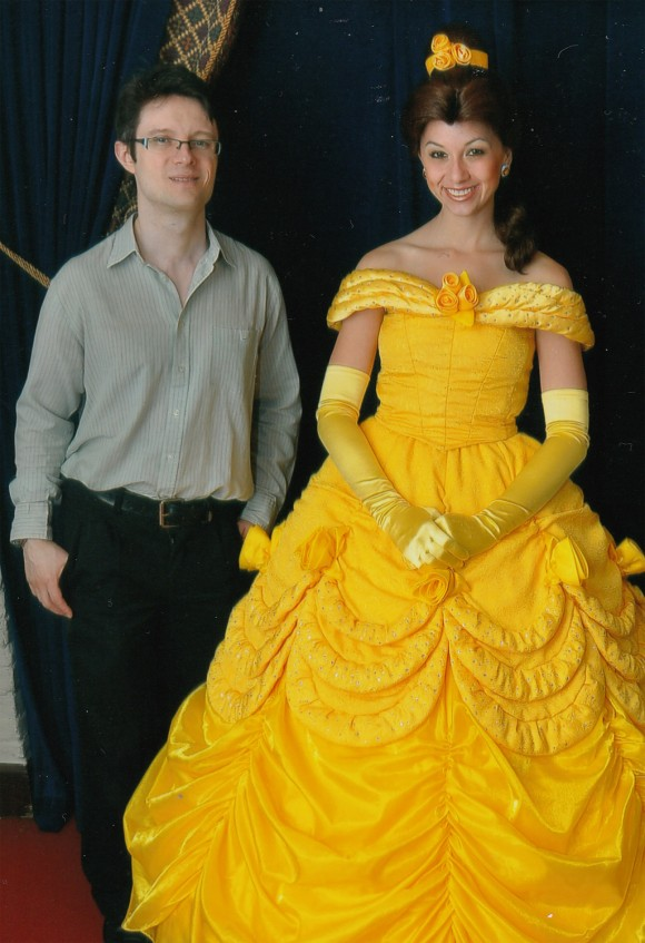 Christian with Belle in Akershus restaurant in Epcot