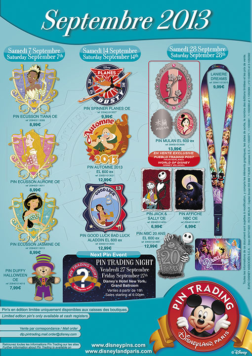 Disneyland Paris Pins for September 2013