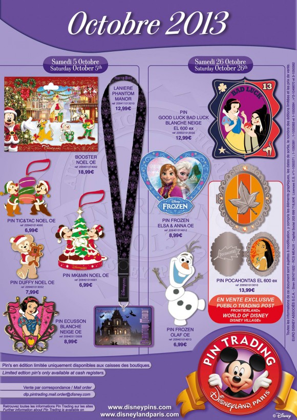 Disneyland Paris Pins for October 2013 – Christmas, Frozen and More Princesses