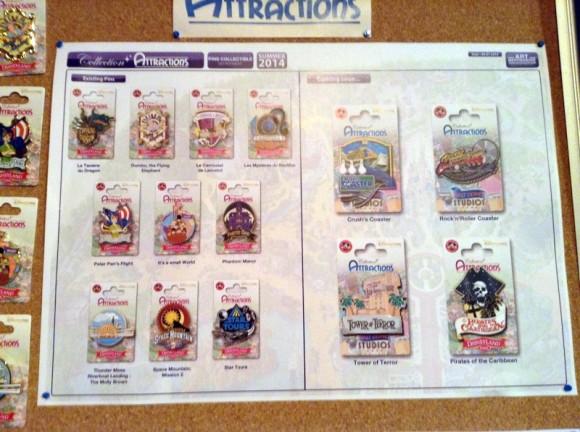 Attraction Pins in Disneyland Paris