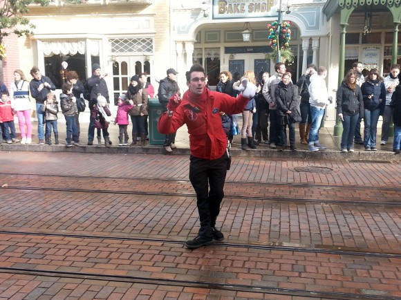Yoann Entertaining Guests on Main Street, U.S.A. in Disneyland Paris
