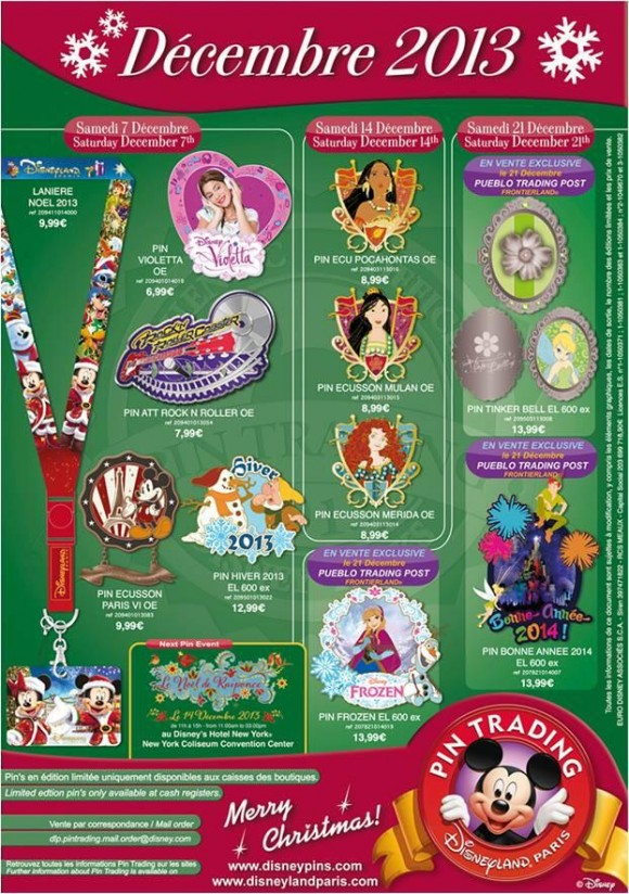 Disneyland Paris Pins for December 2013. Frozen Princess Christmas Dreams