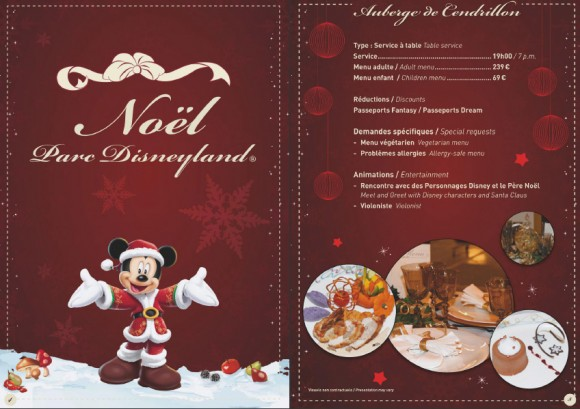 Disneyland Paris Christmas & New Year Menu Book