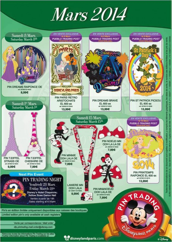 Disneyland Paris Pins for March 2014 – More Paris, Tower, Dreams! with Patrick & Spring