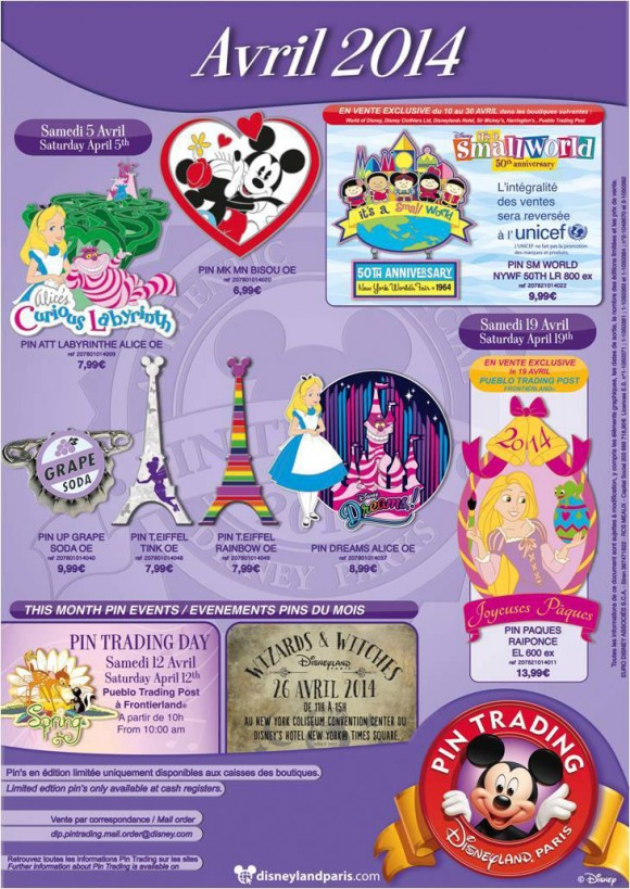 Disneyland Paris Pins for April 2014 – Attraction Pins Are Back!