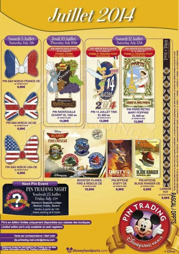 Disneyland Paris Pins for July 2014