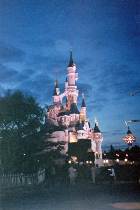 My First Photo of Sleeping Beauty Castle at Night in Disneyland Paris