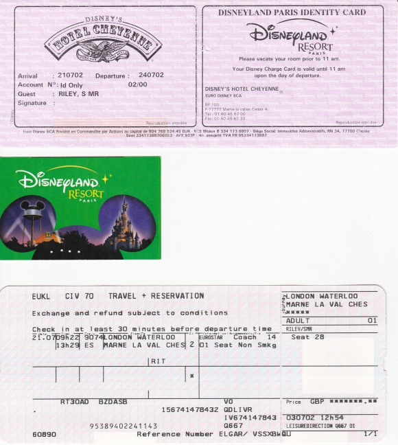 Documents from My First Trip to Disneyland Paris