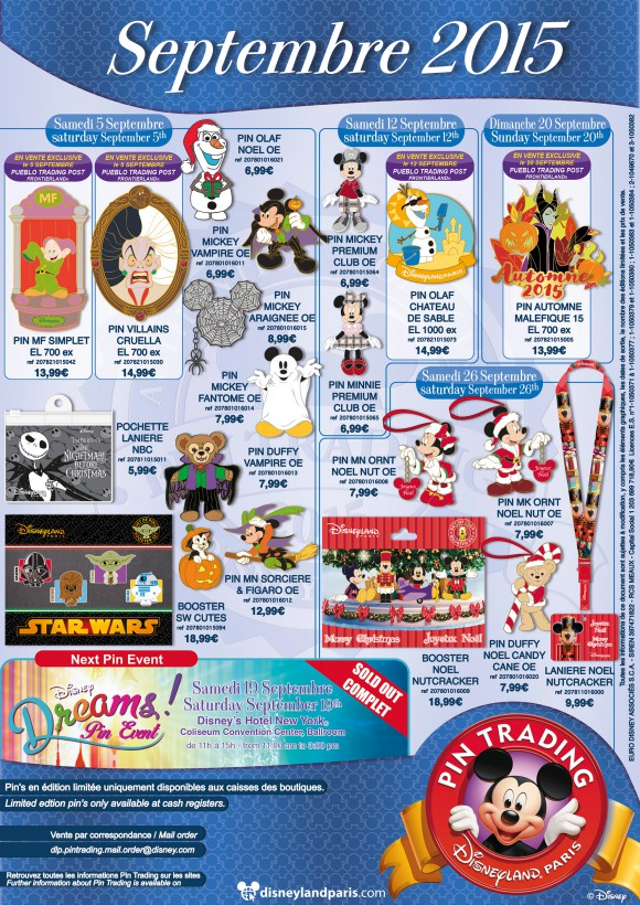 Disneyland Paris Pins for September 2015: Halloween, Christmas, Star Wars, Duffy & Olaf