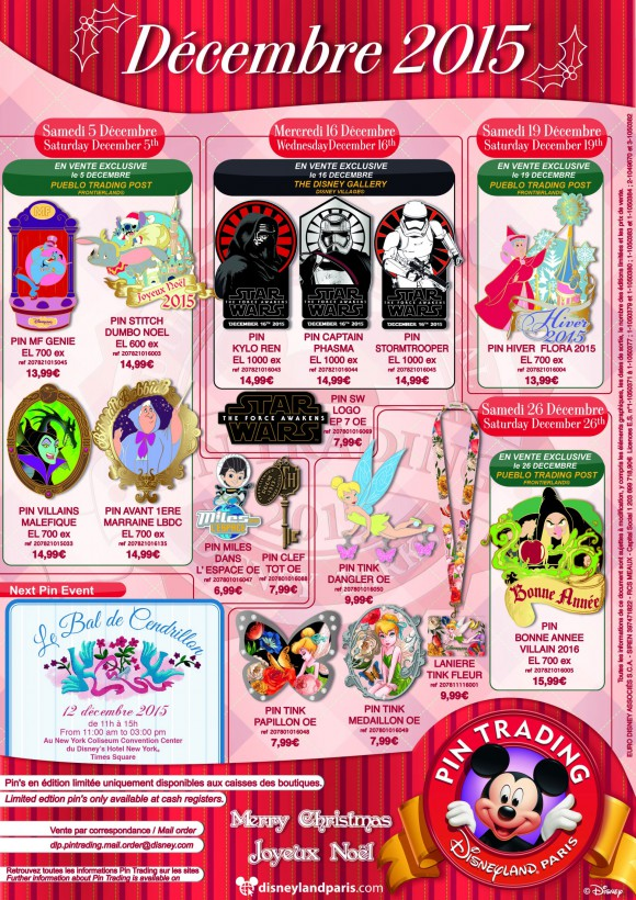 Disneyland Paris Pins for December 2015: Star Wars, Christmas, Characters But Not Enough Resort Pins