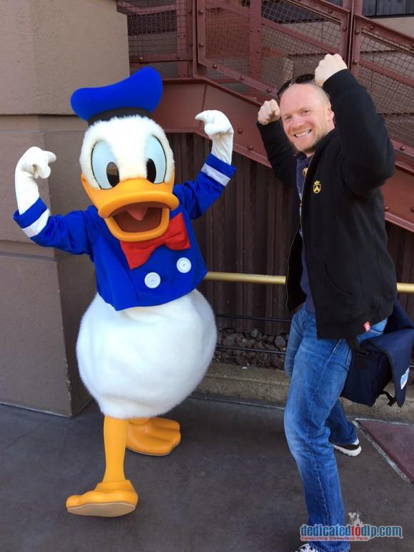 Strongman Poses with Donald Duck in Disneyland Paris
