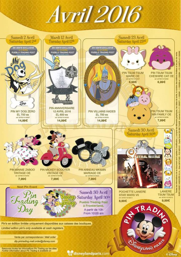 Disneyland Paris Pins for April 2016: Tsum Tsum, 24th Anniversary, Star Wars and Mickey Ears