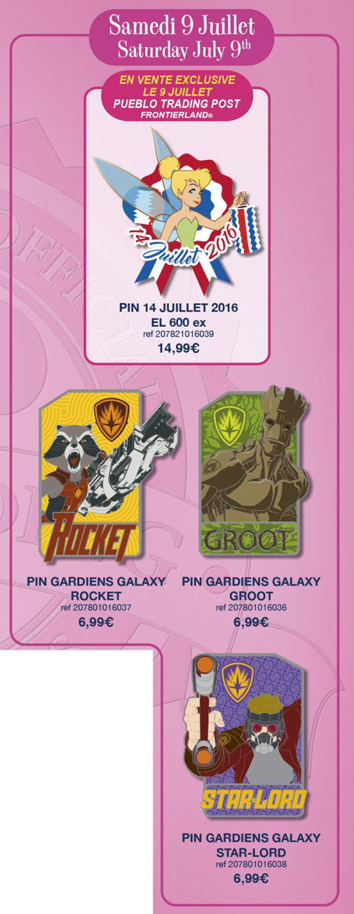 Disneyland Paris Pin Releases - 9th July 2016