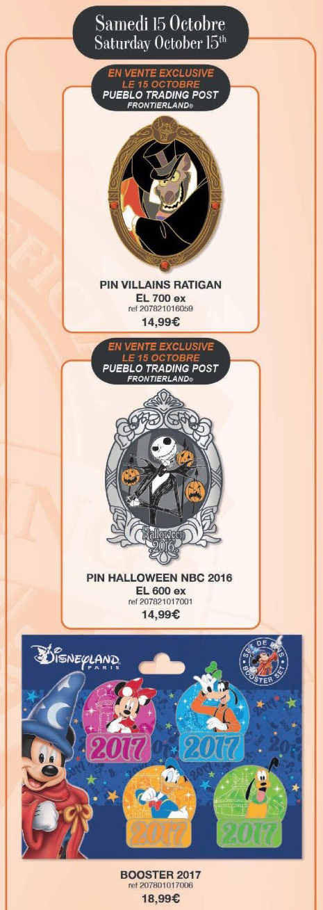 Disneyland Paris Pin Releases – October 15th 2016