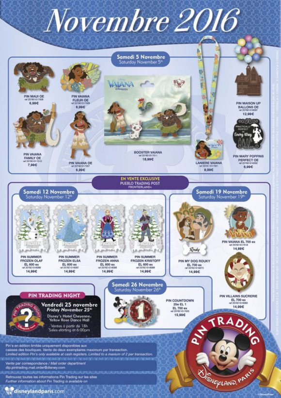 Disneyland Paris Pins For November 2016: Moana or Vaiana? Poppins, Frozen and Countdown
