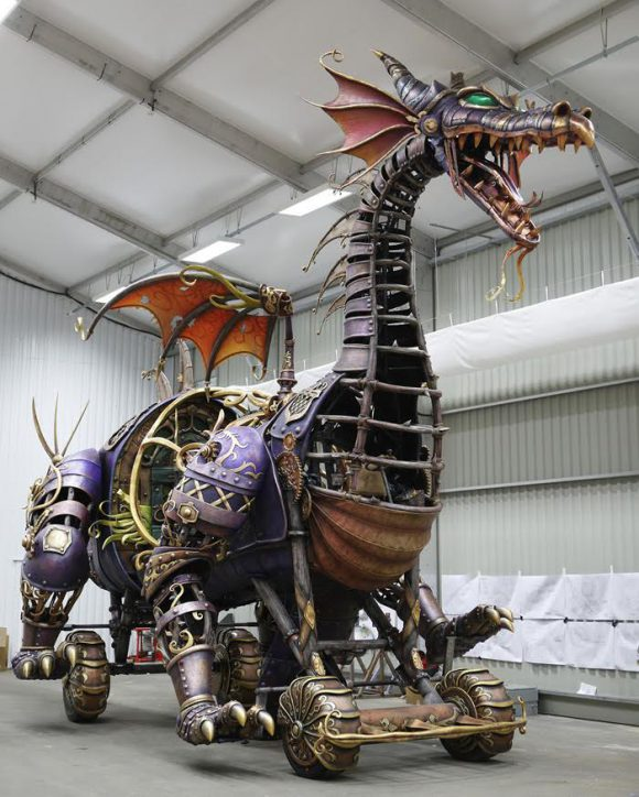 The Steampunk Dragon for Disney Stars in Parade has Arrived in Disneyland Paris