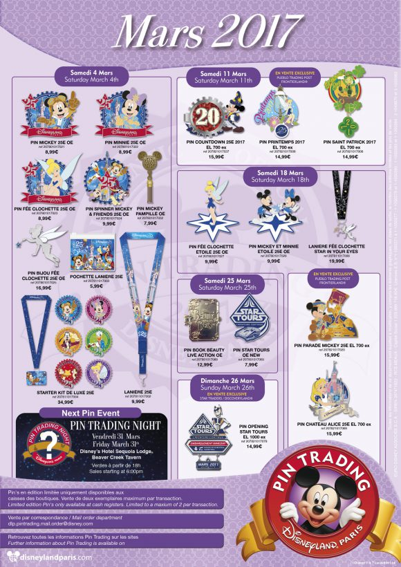 Disneyland Paris Pins March 2017