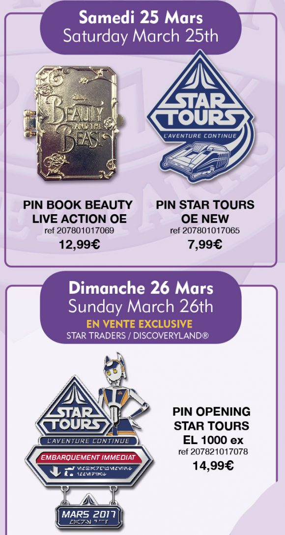 Disneyland Paris Pins For March 25th and 26th 2017