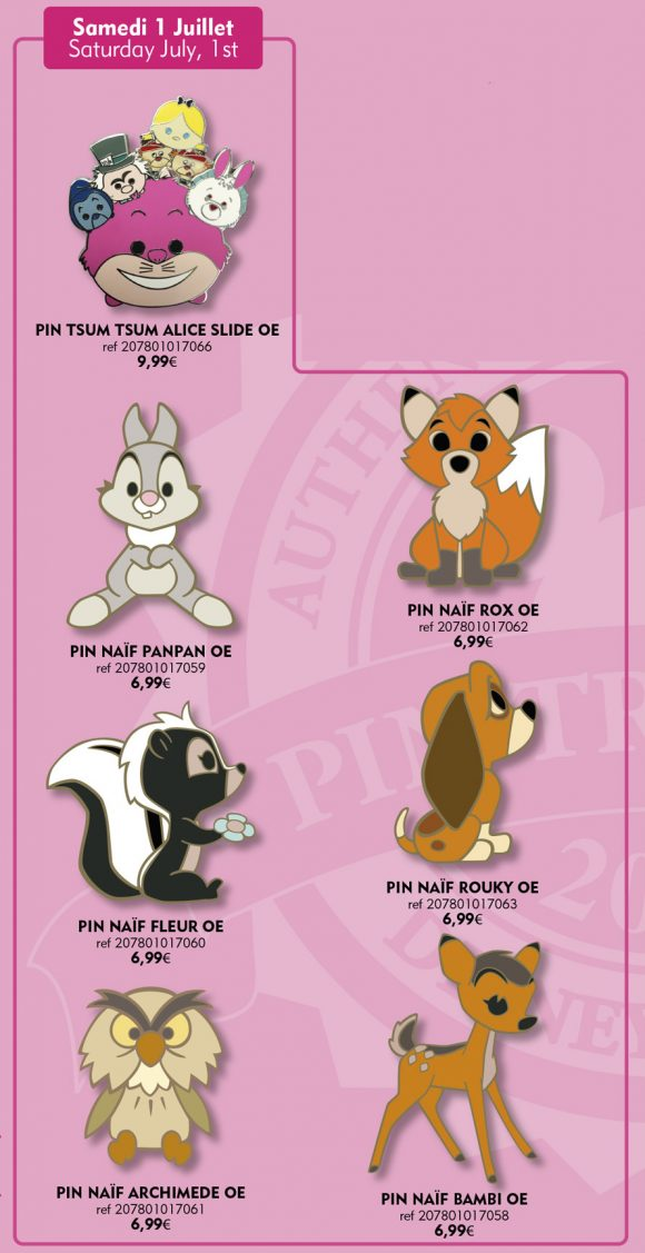 Disneyland Paris Pins For July 1st 2017