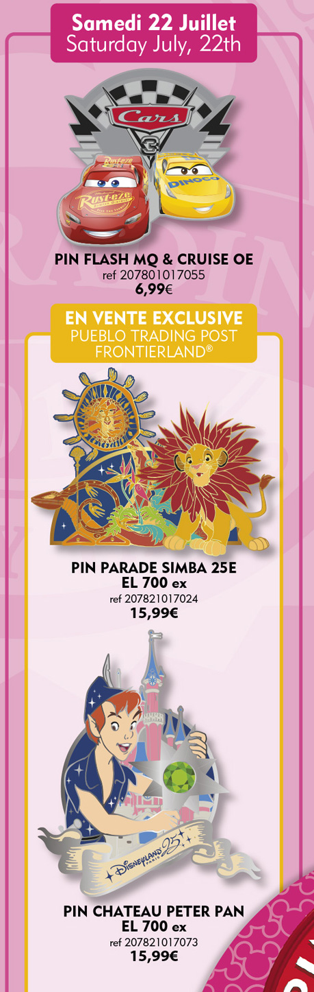 Disneyland Paris Pins For July 22nd 2017