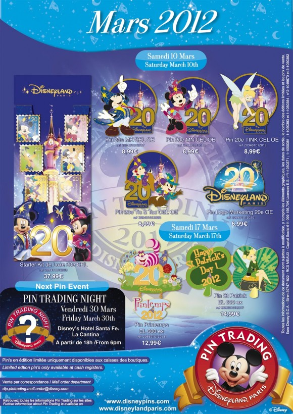Disneyland Paris Pins for March 2012 – The Pins are back, 20th Anniversary Specials
