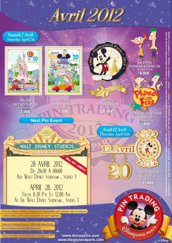 Disneyland Paris Pins for April 2012 – 20th Anniversary & Phineas & Ferb