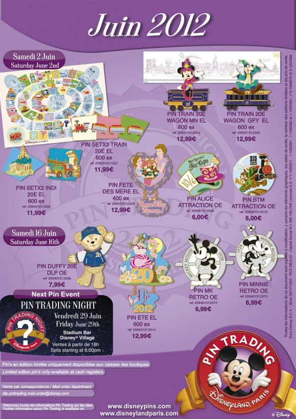 Disneyland Paris Pins for June 2012 – A massive 14 pins, including Duffy