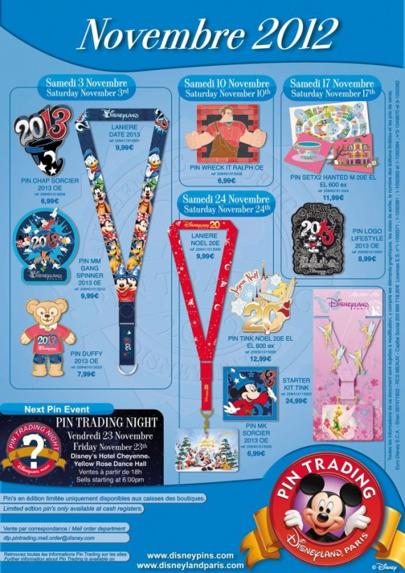 Disneyland Paris Pins for November 2012 – Say hello to 2013, with Duffy & Wreck It Ralph Too