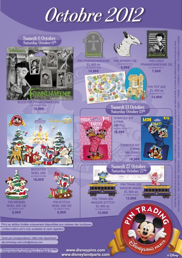 Disneyland Paris Pins for October 2012 – Say Hello to Frankenweenie!