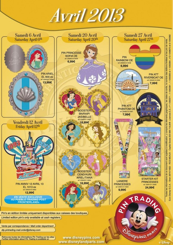Disneyland Paris Pins for April 2013 – Princess Overload, Phantom and Riverboat