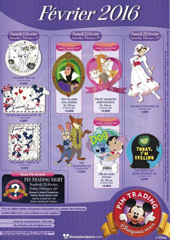 Disneyland Paris Pins for February 2016: We Love Paris, Mary, Animals and Tink