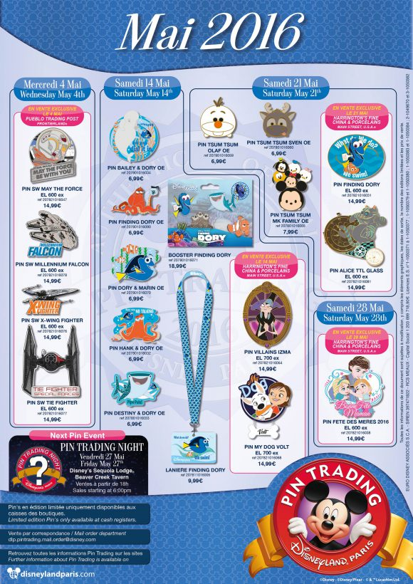 Disneyland Paris Pins for May 2016: Star Wars, Chesh, Fish and other animals!