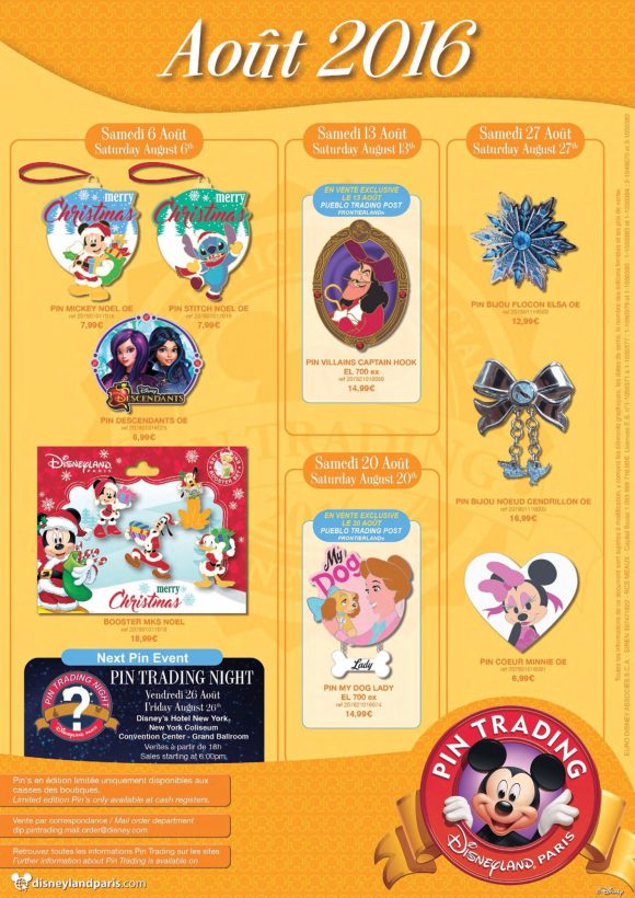 Disneyland Paris Pins For August 2016: Christmas (!), Hook, Dog and Sparkles