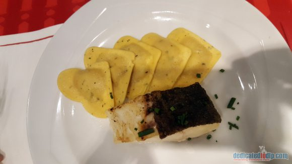Disneyland Paris Restaurant Review: Bistrot Chez Rémy - Roasted Cod with Ratatouille Ravioli