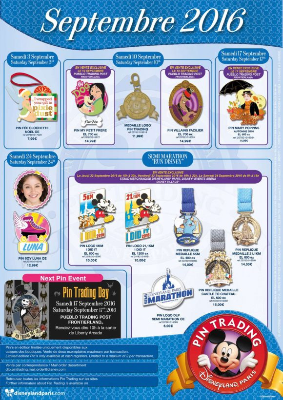 Disneyland Paris Pins For September 2016: runDisney Bonanza, Villains, Poppins, Christmas Tink and Luna?