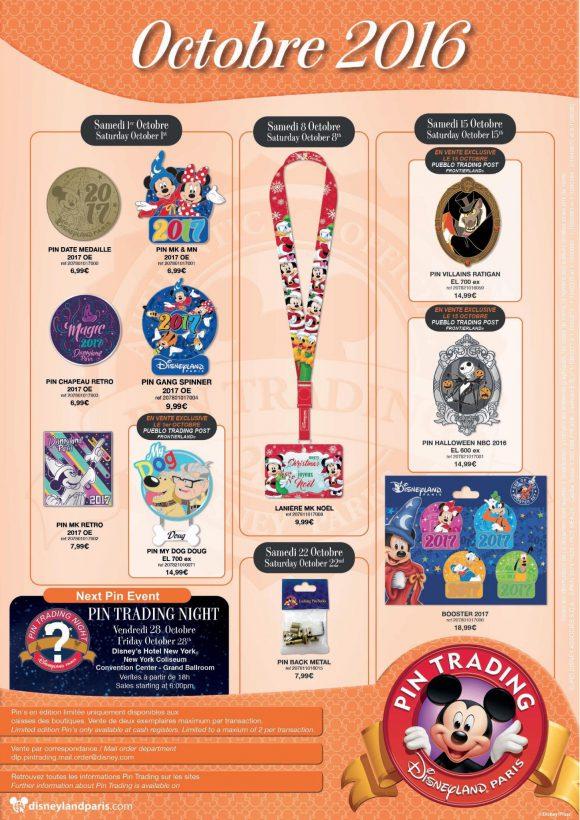 Disneyland Paris Pins For October 2016: Christmas, 2017, Dug Dog and Halloween At Last