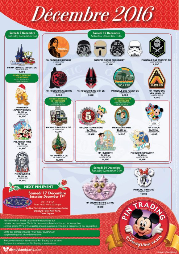 Disneyland Paris Pins For December 2016: Star Wars, Beauty and the Beast, Christmas, Jewellery and 2017