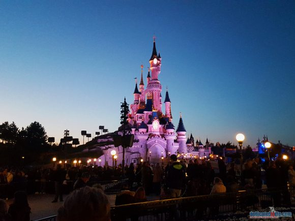 Sleeping Beauty Castle in Disneyland Paris at Night